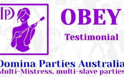Testimonial: Obey! 28 September 2019